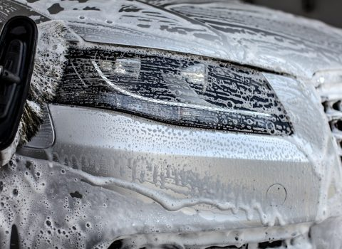 car covered in soap