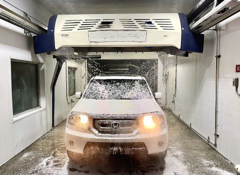 car in an automatric car wash